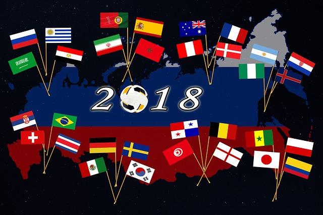 世界地図の背景に2019ロシアワールドカップに出場した各国の国旗が描かれたイラスト