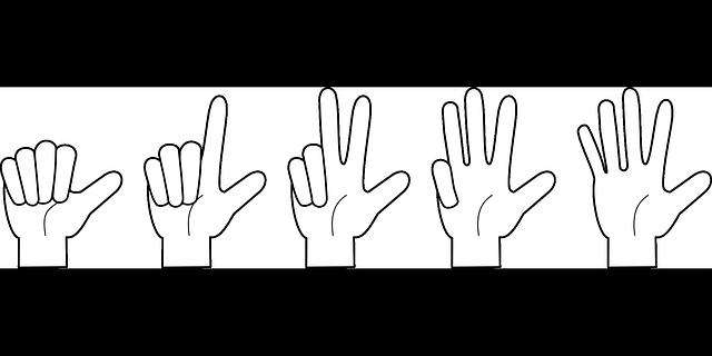 指で1~5までカウントしている手のイラスト