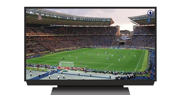 テレビに映るサッカー中継の画像