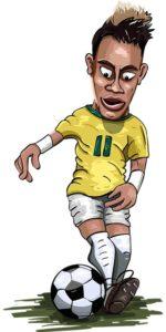 ブラジル代表ネイマールがドリブルをしているイラスト