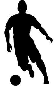 サッカーのドリブルで横に移動している画像