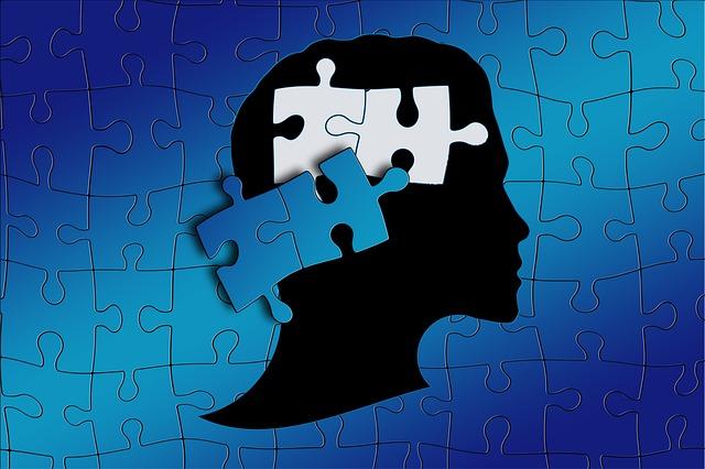人間の頭部がパズルになっている画像