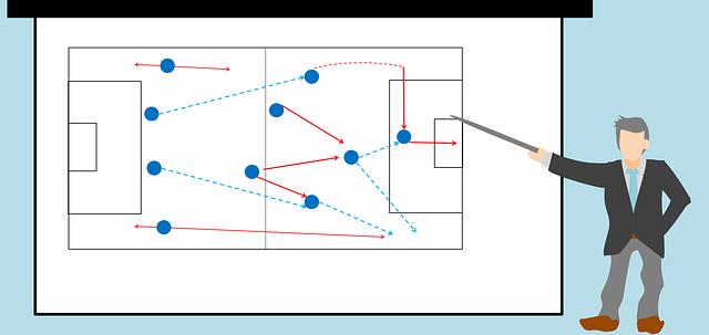 戦術ボードを指示棒を使って説明する人とポジションや動きが矢印で描かれているイラスト