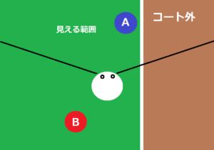 身体が正面(上)を向いた時の視野の範囲で、右側がコート外の状態