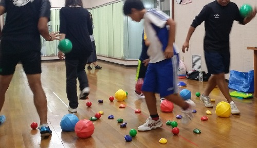ボールやビーンバッグを使ってライフキネティックに取り組む5人の大人と子供