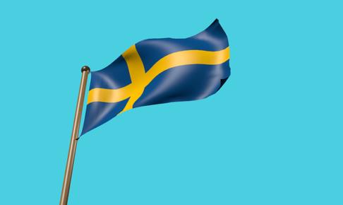スウェーデンの国旗が風になびいているイラスト