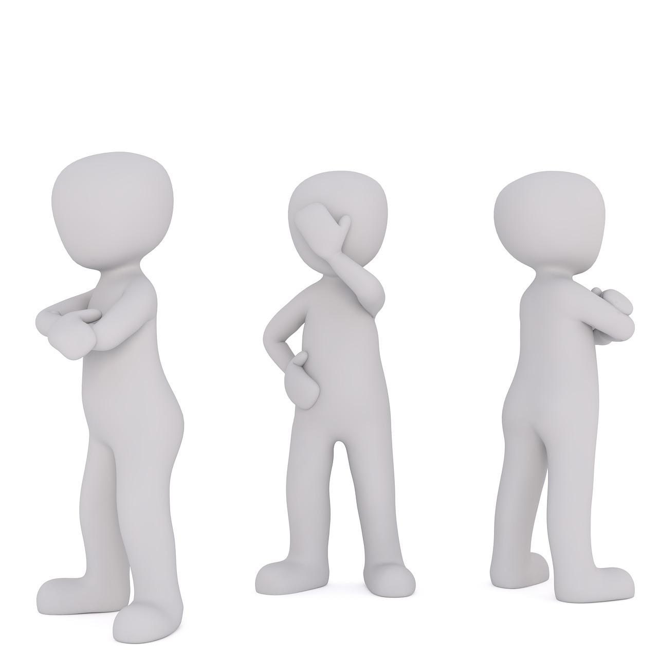 白い人形(左右の人形が腕を組んで外側を向いて、中央の人形が右手で顔を覆っている)が3体あるイラスト