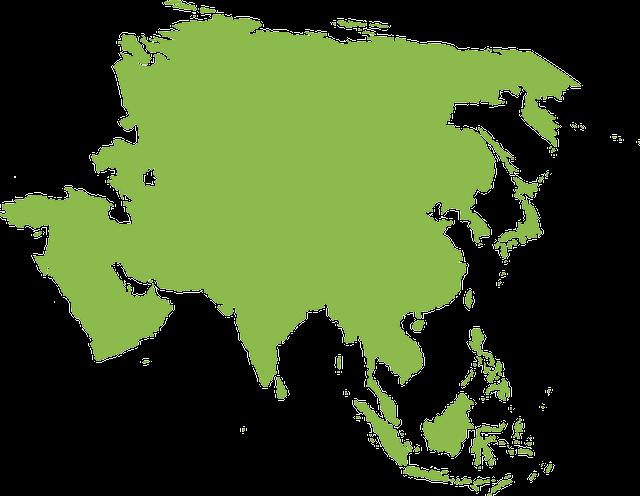 薄緑色のアジア地図